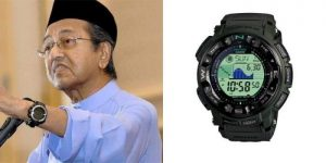 Tun M wearing casio protrek triple sensor tide graph prg-130-1v