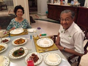 Tun M having meal with his wife